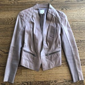 Faux leather putty color cropped jacket